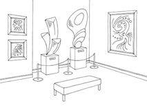 Vecteur intérieur blanc noir graphique d'illustration de croquis de musée Photos stock