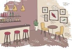 Vecteur intérieur d'illustration de croquis de couleur graphique de barre de café Photographie stock libre de droits