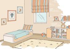 Vecteur intérieur d'illustration de croquis de couleur graphique de pièce d'enfants Photo libre de droits