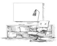 Vecteur intérieur moderne de dessin de main Images stock