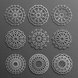Vecteur islamique d'ornement, motiff persan éléments ronds de modèle de 3d Ramadan Ensemble géométrique de calibre de logo circul Image stock