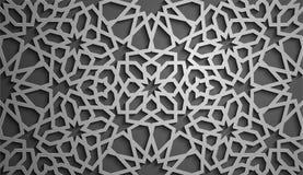 Vecteur islamique d'ornement, motiff persan éléments ronds islamiques de modèle de 3d Ramadan Ornamental circulaire géométrique Image libre de droits