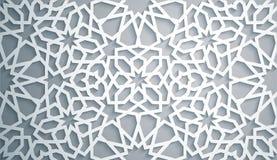 Vecteur islamique d'ornement, motiff persan Fond blanc Éléments ronds islamiques légers de modèle de 3d Ramadan Photographie stock libre de droits