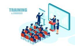 Vecteur isométrique des employés de bureau d'hommes d'affaires recevant la formation de société illustration stock