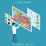 Vecteur isométrique plat 3d d'application en verre de la réalité virtuelle VR Photo libre de droits