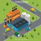 Vecteur isométrique plat 3d d'usine de transport de déchets illustration stock