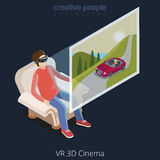 Vecteur isométrique plat 3d de cinéma en verre de la réalité virtuelle VR Photos stock