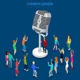 Vecteur isométrique plat 3d de microphone de concert d'exposition de musique vocale illustration libre de droits