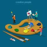 Vecteur isométrique plat 3d de peintre de couleur de palette d'artiste Images libres de droits