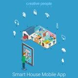 Vecteur isométrique plat de maison de technologie mobile futée d'application illustration libre de droits