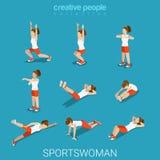 Vecteur isométrique plat femelle d'exercice de sport d'athlète de sportives Images libres de droits