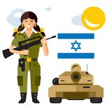 Vecteur Israel Army Illustration colorée de bande dessinée de style plat Photos libres de droits