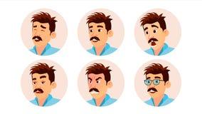Vecteur italien d'avatar d'homme Visage italien créatif d'homme, émotions réglées Gens d'affaires de caractère Illustration de de Images libres de droits