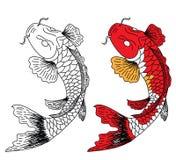 Vecteur japonais de conception de tatouage de koifish Photo stock