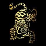 Vecteur japonais de conception de tatouage de tigre d'or Photo stock