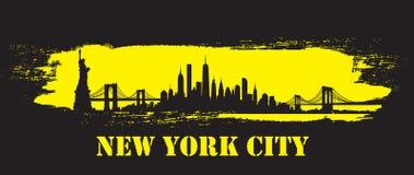 Vecteur jaune d'horizon de New York City de course de brosse illustration stock