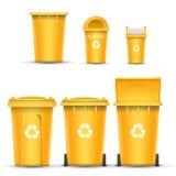 Vecteur jaune de seau de bac de recyclage pour les déchets en plastique Ouvert et fermé Front View Flèche de signe Illustration d illustration de vecteur