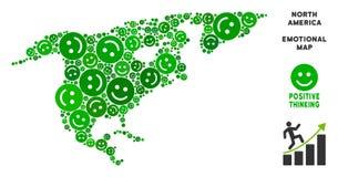 Vecteur Joy North America Map Mosaic des smiley Illustration Libre de Droits