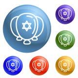 Vecteur juif d'ensemble d'icônes de ballons illustration stock