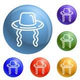 Vecteur juif d'ensemble d'icônes de chapeau illustration libre de droits