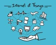 Vecteur : La main ouverte avec des choses se relient et l'Internet o illustration stock