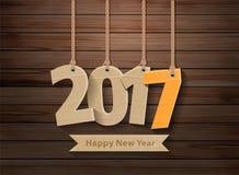 Vecteur la pose de papier peint de 2017 bonnes années sur le bois Images stock