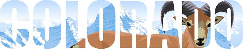 Vecteur le Colorado - mot d'état américain avec des mouflons d'Amérique et des montagnes illustration stock