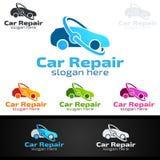 Vecteur Logo Design de service de voiture avec la forme de réparation automatique et le concept de voiture Images libres de droits