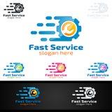 Vecteur Logo Design de service de voiture avec la forme de réparation automatique et le concept de voiture Image libre de droits