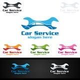 Vecteur Logo Design de service de voiture avec la forme de réparation automatique et le concept de voiture Photo libre de droits