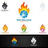 Vecteur Logo Design de service de voiture avec la forme de réparation automatique et le concept de voiture Photographie stock