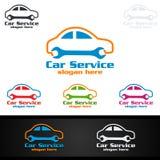 Vecteur Logo Design de service de voiture avec la forme de réparation automatique et le concept de voiture Photographie stock libre de droits