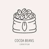 Vecteur Logo Template Cocoa Beans simple Images libres de droits