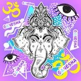 Vecteur Lord Ganesha au-dessus de fond coloré de vintage Rétro illustration admirablement détaillée style 80s et 90s psychédéliqu illustration de vecteur