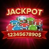 Vecteur lumineux de bannière de casino de grande victoire de gros lot Pour le casino en ligne, jeux de carte, tisonnier, roulette illustration libre de droits