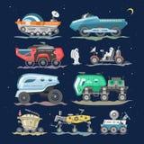 Vecteur lunaire-Rover ou lune-Rover de vaisseau spatial et vaisseau spatial avec l'ensemble l'explorant d'exploration d'illustrat illustration libre de droits