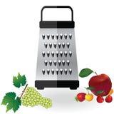 Vecteur métallique et fruits pomme, fraise, cerise, illustration d'icône de râpe de raisins Accessoire en acier de coupe de nourr illustration libre de droits