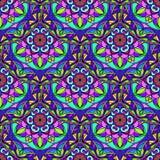Vecteur Mandala Pattern florale bleue sans couture Photographie stock libre de droits