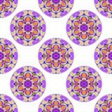 Vecteur Mandala Pattern florale lilas sans couture Photos libres de droits