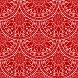 Vecteur Mandala Pattern florale rouge sans couture Photos libres de droits