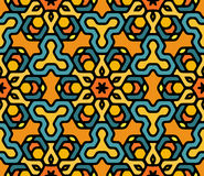 Vecteur Mandala Pattern hexagonale orientale florale arrondie colorée sans couture Photos libres de droits