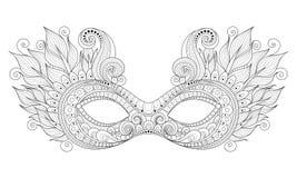 Vecteur Mardi Gras Carnival Mask monochrome fleuri avec les plumes décoratives illustration de vecteur