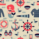Vecteur Marine Seamless Pattern Photos stock