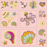 Vecteur Marine Seamless Pattern Patchwork de mer Photos stock