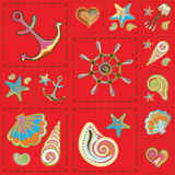Vecteur Marine Seamless Pattern Patchwork de mer illustration stock