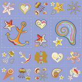 Vecteur Marine Seamless Pattern Patchwork de mer illustration libre de droits
