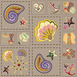 Vecteur Marine Seamless Pattern Patchwork de mer illustration de vecteur