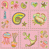 Vecteur Marine Seamless Pattern Patchwork de mer Images stock