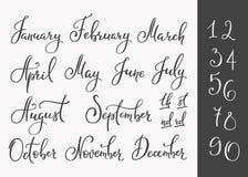 Vecteur marquant avec des lettres des noms de mois réglés illustration stock