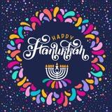 Vecteur marquant avec des lettres le texte Hanoucca heureux Festival juif de célébration de lumières, cadre de fête, menorah, Dav illustration stock
